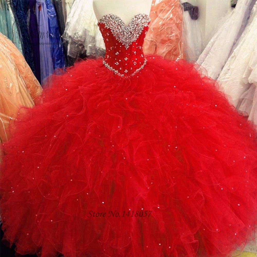 Red Puffy Ball Gown Quinceanera Dresses 2017 Cheap Quinceanera Gowns Ruffle Beaded Floor Length Sweet 16