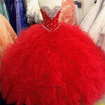 771c0d5dd Rojo puffy bola Vestidos de quinceañera 2017 baratos quinceanera vestidos  con cuentas ruffle piso-longitud dulce 16 Vestidos vestido 15 anos