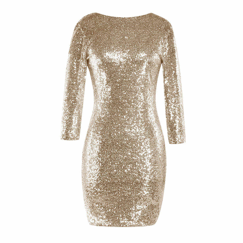 YOUYEDIAN silverPolyester solid sexy for nightclub Women s Sparkle Glitzy  Glam Sequin Long Sleeve Flapper Party Club 93967e388dec
