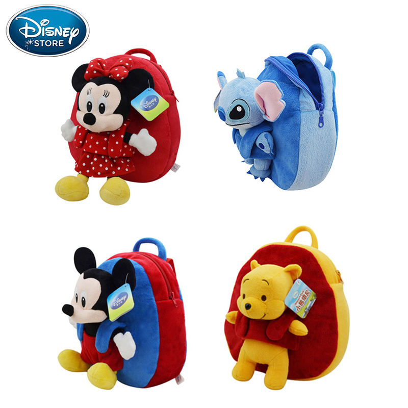 Disney Backpack School Bag Plush Toys Winnie The Pooh Mickey Mouse Minnie Stuffed Doll Birthday Gift For Children 1pcs 28cm minnie and mickey mouse low price super plush doll stuffed animals plush toys for children s gift