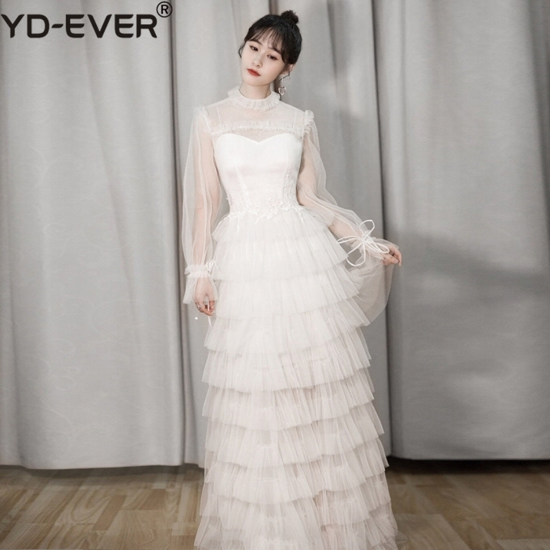 High Quality White Gown Long Party Dress 2019 Women See Though Long Sleeve Floor-length Lace Cake Mesh Christmas Dress Robe Pull