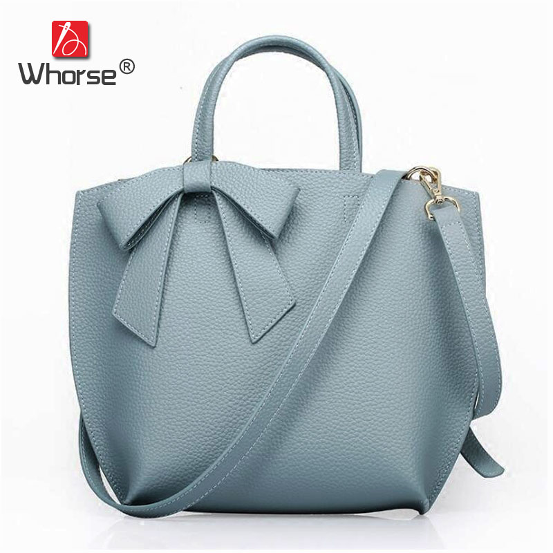 [WHORSE] Brand Luxury Fashion Bow Womens Genuine Leather Handbags Large Messenger Bags Ladies Casual Tote Bag For Women W07710 [whorse] brand luxury fashion designer genuine leather bucket bag women real cowhide handbag messenger bags casual tote w07190