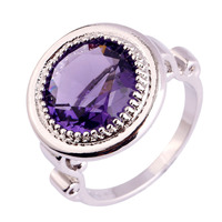 Wholesale Unisex Round Cut Amethyst & White Sapphire 925 Silver Ring Handsome Junoesque Fashion Jewelry Size 7 8 9 10 Free Ship