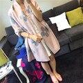 2016 Mulheres de Inverno Longo Cachecol Mulheres Lenço De Seda Da Marca de Luxo Flores Lenço de Cashmere Misturado Sarong Envoltório Xaile Lenços Estilo