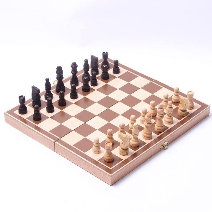Livraison gratuite Classique de haute qualité en bois échecs Peut être plié Bureau jeux jeux de société Apprentissage et Éducation de bébé enfants jouets jeu
