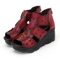 Platform Summer New Soft Bottom Flat Genuine Leather Women Shoes Personality Leisure Women Sandals Retro Handmade