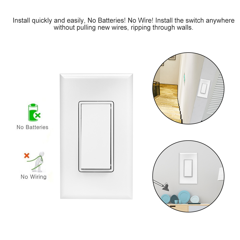 Wireless Wifi Light Switch Kit Rf433 Remote Control Receiver Wiring Installation Diagram 1 Self Powered Smart Double Sticker Set Of Mounting Screws User Manual