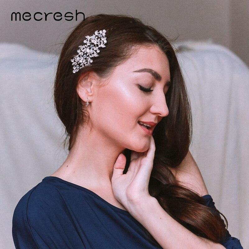 Mecresh Kryształowe ślubne akcesoria do włosów dla kobiet Srebrny - Modna biżuteria - Zdjęcie 6