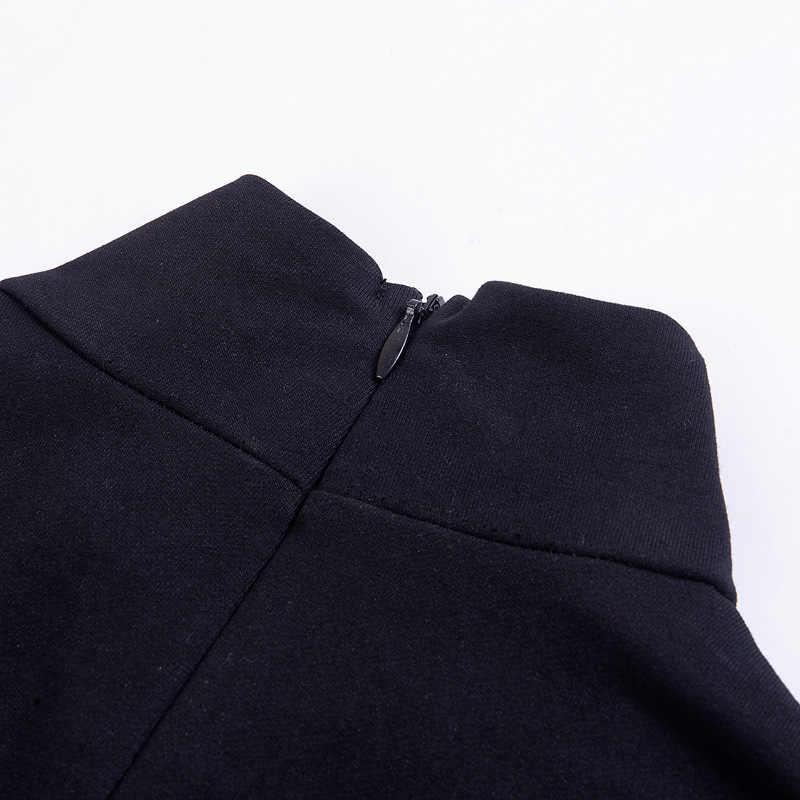 Женское платье-водолазка с длинным рукавом, готическое платье-мини с принтом полумесяца, черное уличное платье с высоким воротником и разрезом снизу, 2019