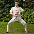 New Arrival Beige Traditional Chinese Men's Tai Chi Uniform Linen Kung fu Suit  Clothing Size  M To XXXL NS002