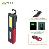 2017 Portable COB LED Flashlight Magnetic Work Light USB Rechargeable Lantern Power Display Hanging Torch Lamp