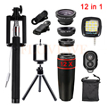 2017 lentes 12in1 kit 12x telefoto fisheye lente grande angular macro lentes + selfie + remote + tripé + clips + luz do flash para o smartphone