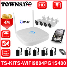 TOWNSAFE new TS-KITS-WIFI9804PG1S400 H.265 4CH Wireless WIFI NVR kits HD 4MP Bullet IP Camera IR CCTV Security System P2P ONVIF(China)