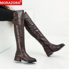 MORAZORA 2020 מכירה לוהטת מעל הברך מגפי נשים pu רטרו zip סתיו חורף מגפי נמוך עקבים נעליים יומיומיות אישה ירך גבוהה מגפיים