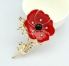 Hot Selling Red Remembrance Poppy Brooch Pins Bouquet Crystal Badge Gold Pated Flower Women Men Fashion Christmas Gift Jewelry