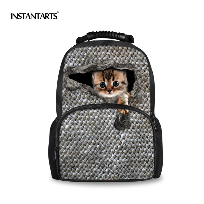 INSTANTARTS Preppy Style Cute Women Pet Cat Felt Backpacks School Bagpack for Teenege Girls Animal Owl Printing Travel Backpack instantarts cute children pug dog backpack men felt travel backpacks for teenege boys 3d animal printed student school bagpack