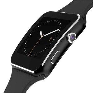Image 2 - X6 Bluetooth inteligentny zegarek z kamerą dla mężczyzn kobiety bransoletka sportowa z ekranem dotykowym SIM TF Card opaska na telefon komórkowy