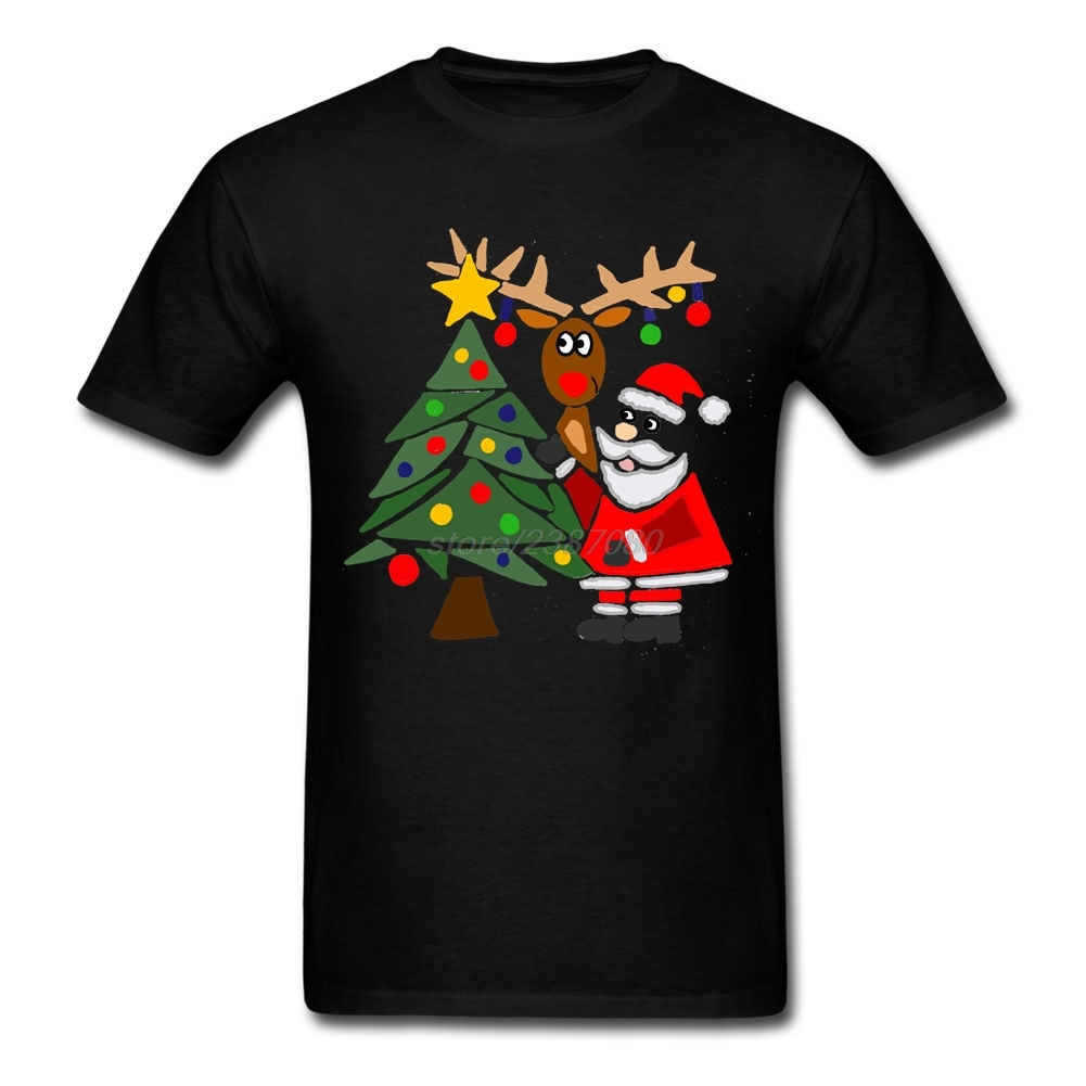 High Quality O-Neck Teenage Funky Cool Funny Santa Claus, Christmas Tree, and Rudolph Tee Shirts Youth Pre-cotton T Shirts