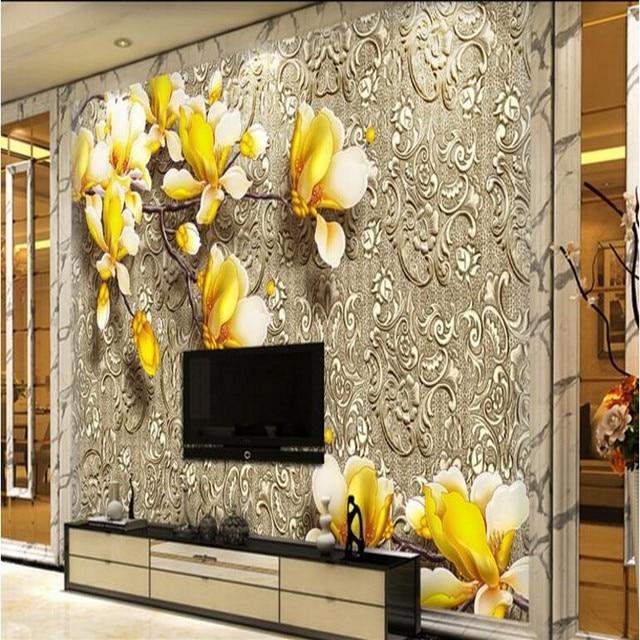 Beibehang Large Custom Wallpaper Sculpture Magnolia Flower Metal Texture Living Room Bedroom TV Background Painting