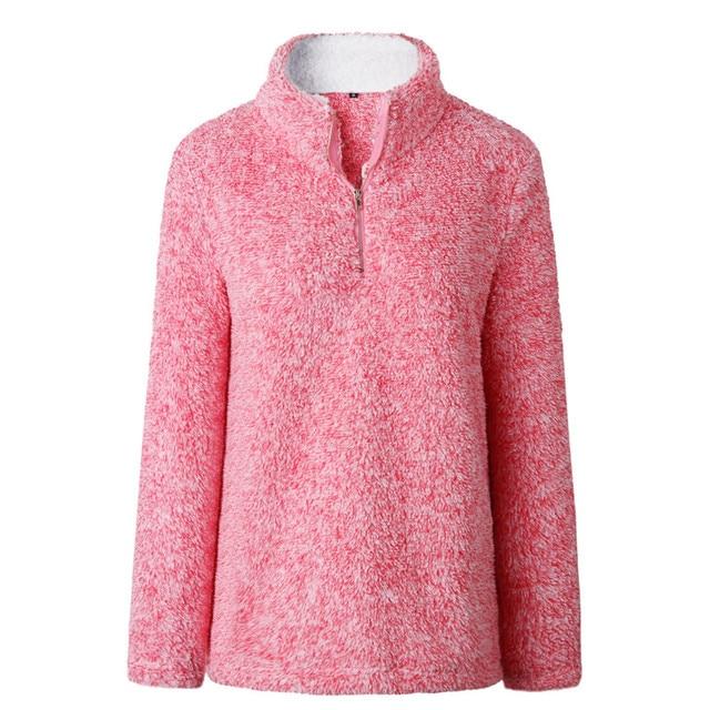 2018 Women Winter Sherpa Sweater Turtleneck Fleece Pullover Zipper Collar Fluffy Warm Tops Plus Size 3XL Female Winter Sweaters