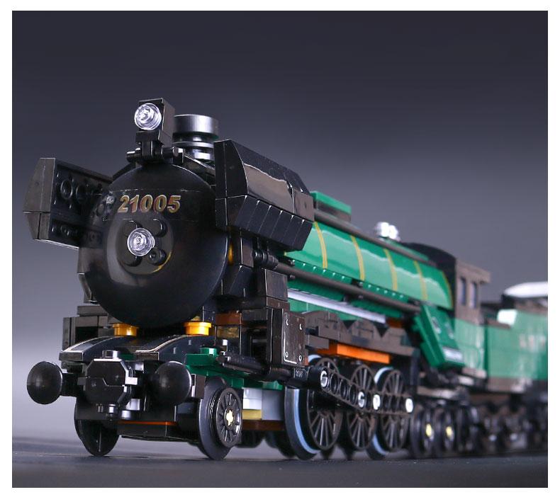 1085 Pcs 21005 Technic Series Emerald Night Train Model Building Kit Blocks Bricks Toys For Children Compatible with 10219