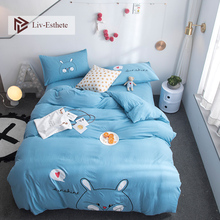 Liv-Esthete Fashion Cute Kids Blue Rabbit Cartoon Bedding Set Pink Duvet Cover Flat Sheet Pillowcase Double Queen King Bed Linen