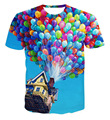 "Raisevern new fashion women clothes 3D t shirt ballon fly print film ""UP"" movie cartoon 3d tshirts galaxy lover summer tee tops"