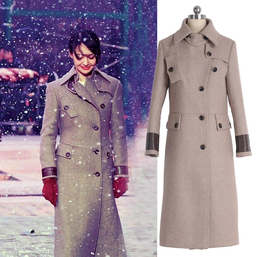 Automne et Hiver Nouvelle Mi-long costume en laine À Double Boutonnage de Zheng Shuang Mince costume en laine Pardessus Femmes Vestes Manteaux D'hiver Femmes