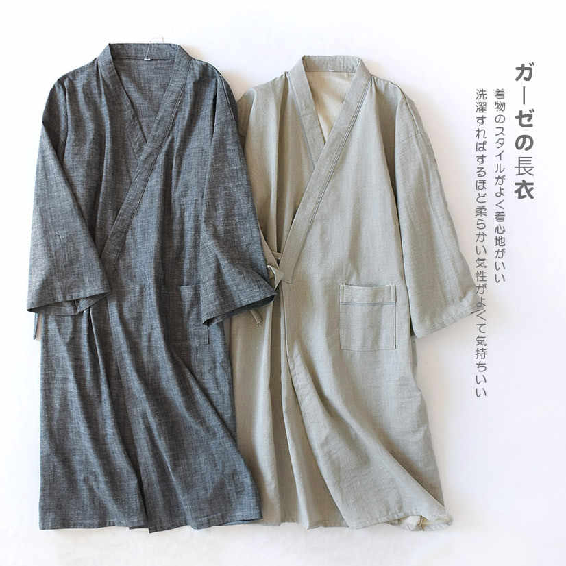 Detail Feedback Questions about Spring Cotton Comfortable Men Robes Solid  Sleepwear Japanese Style Male Kimono Bathrobe Gown Nightwear Casual Home  Clothing ... 607f14471