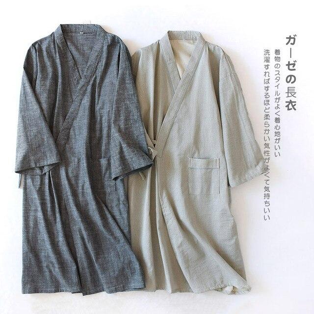 b3c26543974079 Wiosna bawełna wygodne mężczyzn szaty stałe piżamy japoński styl mężczyzna  Kimono szlafrok suknia nocna dorywczo odzież