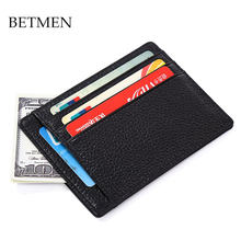 BETMEN men brand card holder wallet genuine leather credit card case slim ID card purse(China)