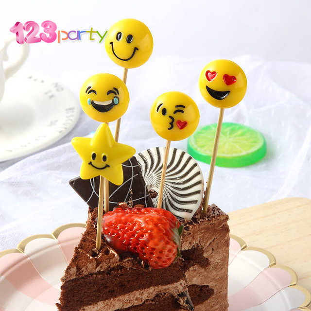 5Pcs Emoji Happy Birthday Cake Decoration Flag Childrens Party Baking Wedding Decorations Cute And Fun DIY