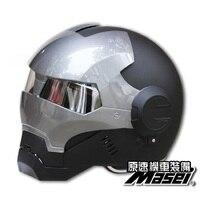 MASEI 610 IRONMAN Motorcycle Helmet Black Gray Casque Motocross Half Helmet Personality Open Face Helmet Trend