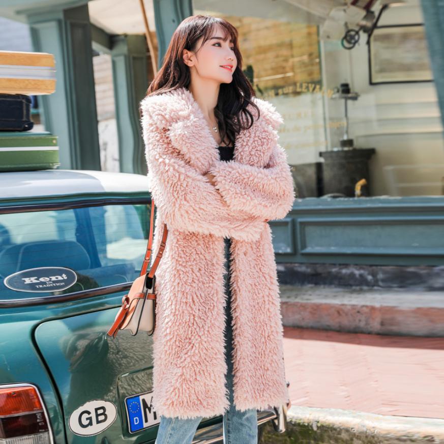 Imitation Fourrure Outwear En camel L1754 Green À Manteau Femmes Oversize D'hiver pink Épais Longues Fausse Chaud Veste Manches De Luxe qS6YwY