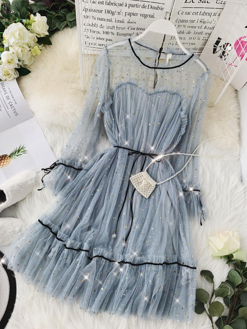 HISUMA spring autumn new women Star sequins gauze flare sleeve lace-up Princess dress female elegant o-neck mesh puff dresses 52