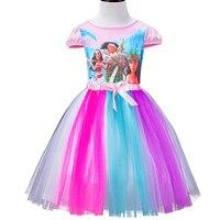 Giản dị Hè Phim Hoạt Hình In Váy Giấc Mơ Biển Nhiệt Đới Dress Bow Dresses Bé Gái Quần Áo Đảng Hoàng Tử Lưới Ăn Mặc 8 Năm