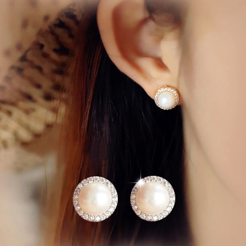Fashion Elegant Round Small Sunflower Simulated Pearl Earrings With CZ Stone Girl Women Birthday Jewelry Rose