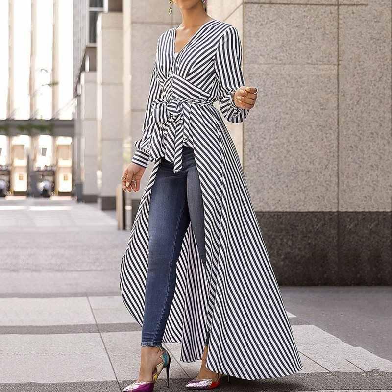 Летние офисные женские модные синие длинные блузки в африканском стиле, большие размеры, повседневные тонкие полосатые черные женские топы для девочек, 2019 рубашки