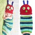 Newborn 0-6M baby Photography Props Handmade Knit Caterpillar Infant Photo Clothes Sleeping Bag Wear Photo Costume Cute Baby