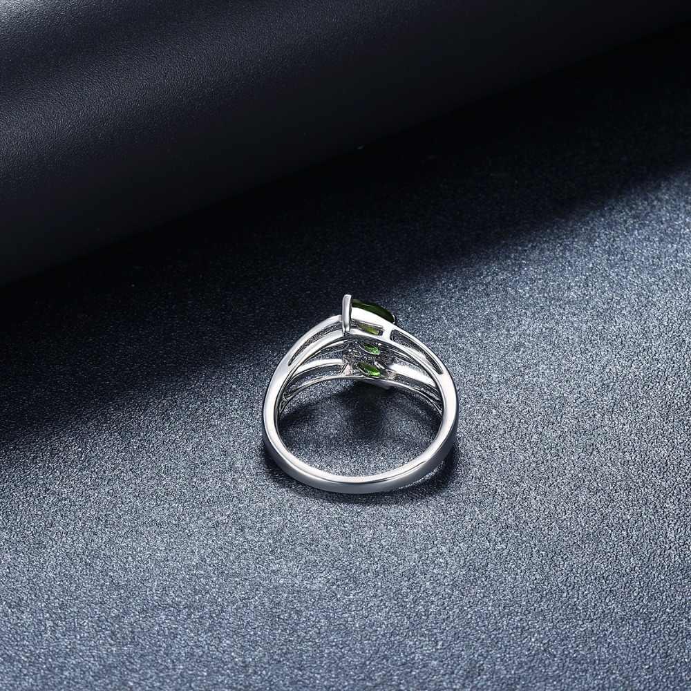 Hutang หินเครื่องประดับอัญมณีธรรมชาติ Chrome Diopside แหวนแท้ 925 เงินแฟชั่นเครื่องประดับสำหรับผู้หญิงของขวัญใหม่