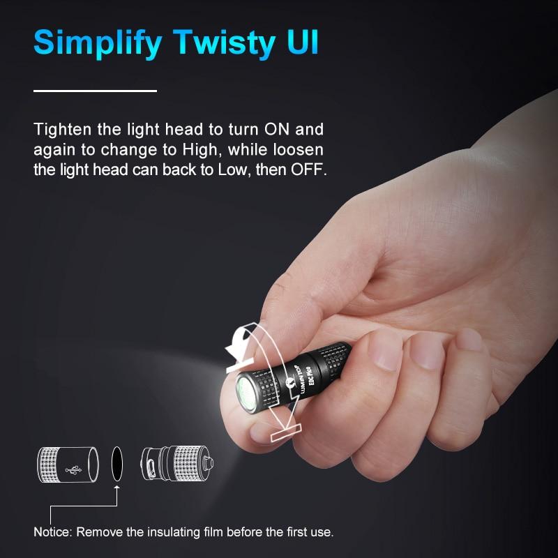 LUMINTOP  Mini USB Flashlight EDC pico OSRAM PUSRA1 LED Max 130 Lumens 40 meters Keychain Mini Flashlight colorful light gift