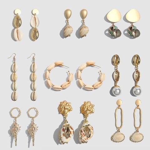 JUST FEEL ZA 2019 Sea Conch Shell Dangle Earrings Jewelry for Women Summer Special Gifts Wedding Party Conch Statement Earrings Karachi