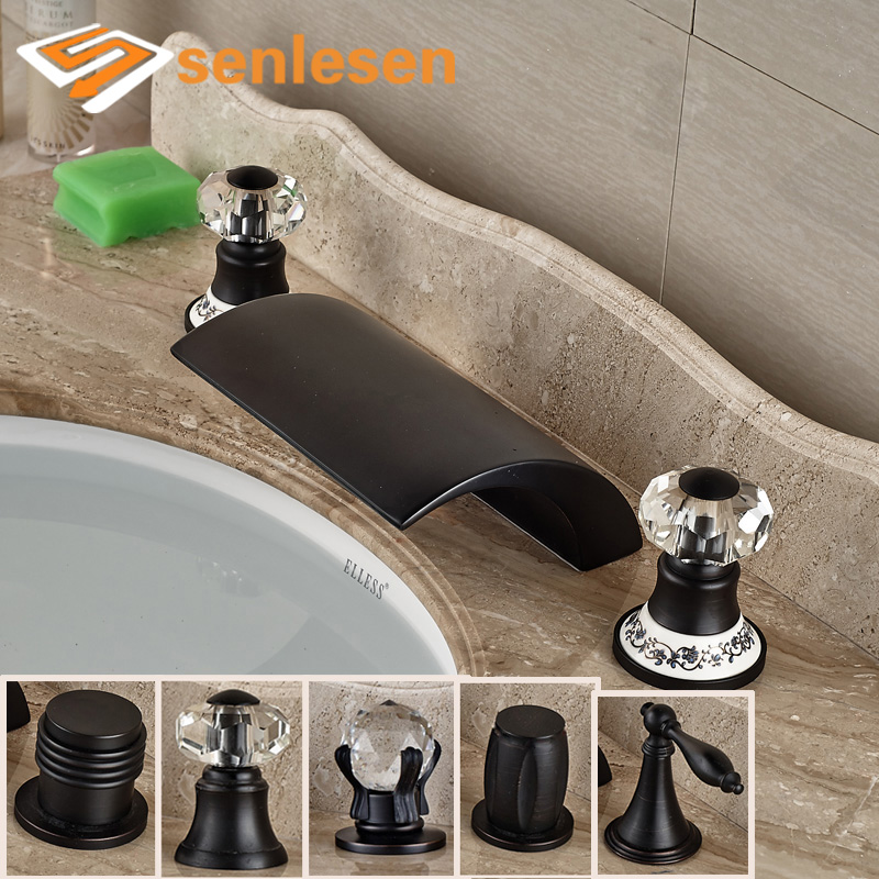 Bathroom Basin Sink Faucet Deck Mounted W/ Hot Cold Water Taps Oil Rubbed Bronze two hole deck mounted hot and cold taps brass chrome surface sink basin faucet water tap for hotel bathroom
