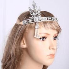 Women 1920s Vintage Bridal Headpiece Costume Hair Accessories Flapper Great Gatsby Leaf Medallion Pearl Headband
