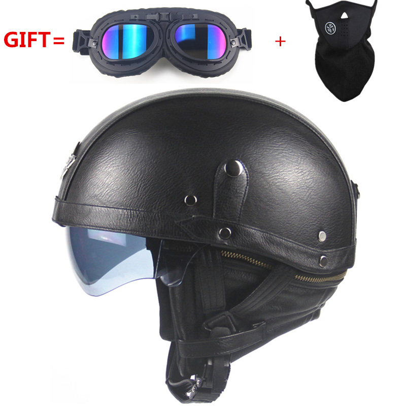 Motorcycle Motorbike Rider Half Open Face PU Leather Helmet Visor With Collar vintage