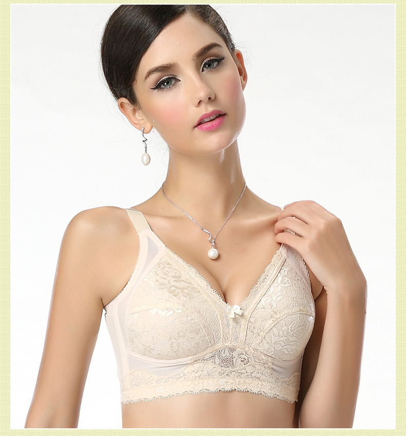Large size bras wireless full cup lace unlined cotton bra ...