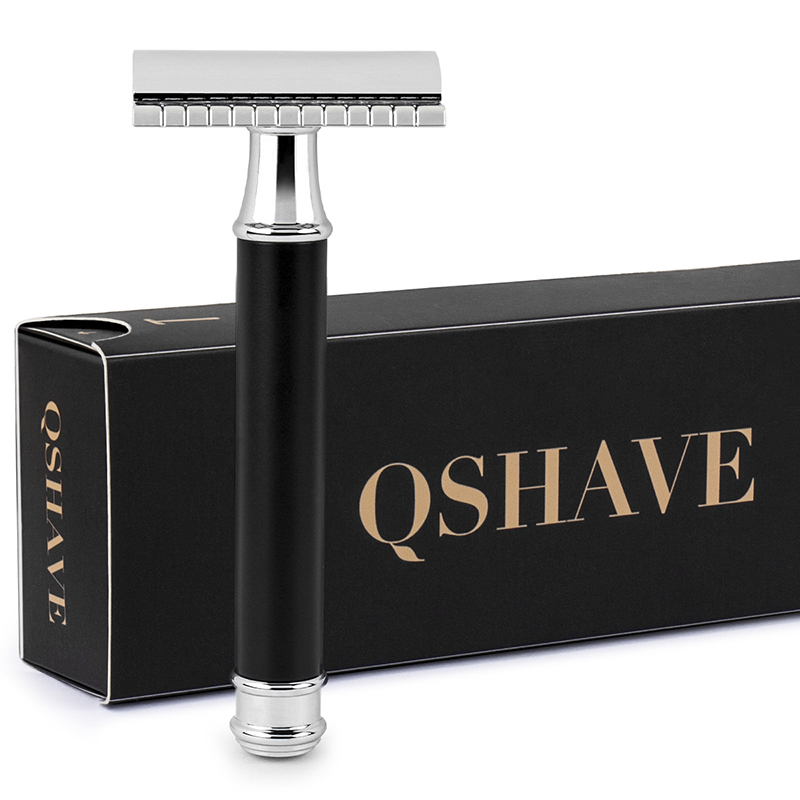 Qshave Men Manual Shaving Razor Classic Safety Razor Black Handle Double Edge Blade Stainless Steel Metal with 5 blades as gift razors for shaving men double edge razor bright brass blade replaceable chrome manual classic safety razor