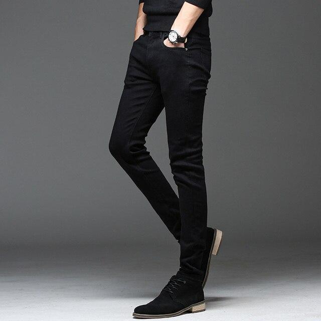 Casual Slim elastic black jeans 3