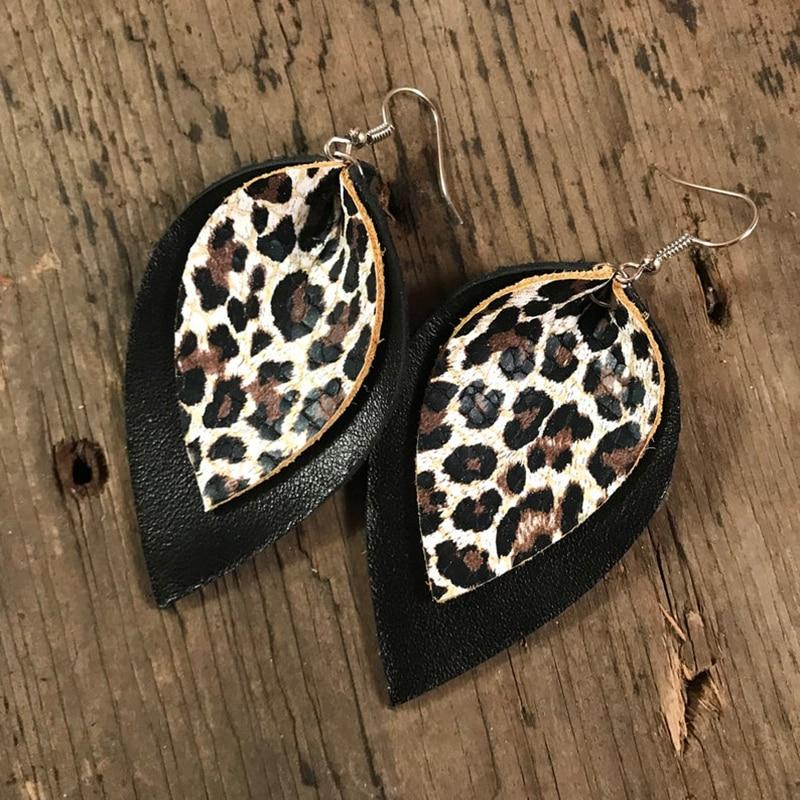 Funky Fall Leopard Print Curvy Diamond Genuine Leather Earrings