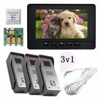 3v1 Color Video Door Phones Intercom For 3 Doors 3 Door Exits 7inch Screen Lcd Free